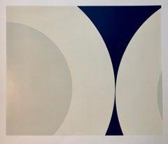 Nassos Daphnis Hard Edged Geometric Abstract Minimalist Silkscreen Op Art Print