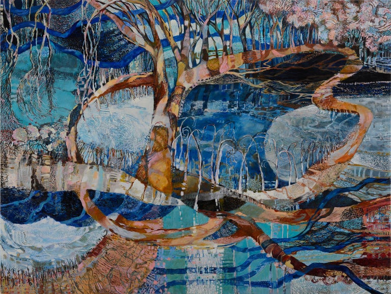 "About the Artist: Unexpected myriads sprout in the dancing leaves and branches of Nat Ward's wetlands paintings. Their rich surfaces reference ""mosaics, textiles, hieroglyphics even Asian script."" Based in Albury, Ward says her paintings are 'an"