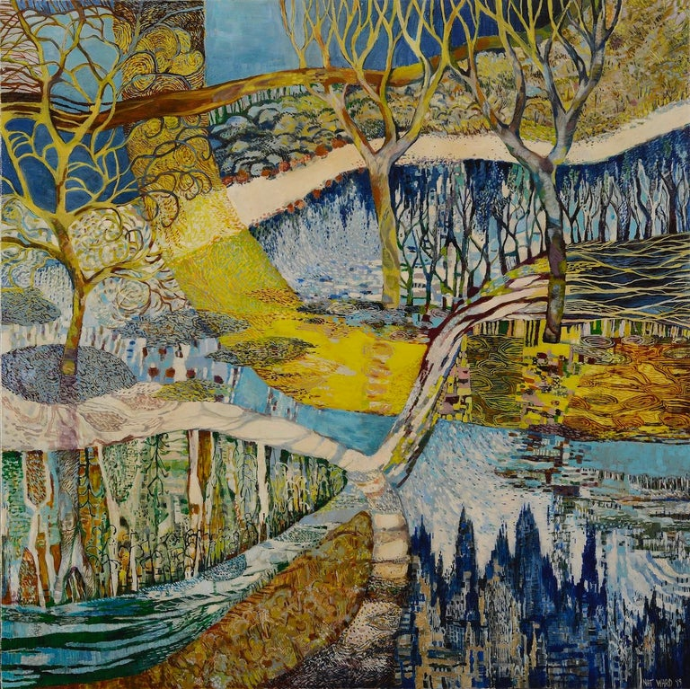 """Framed artwork ready for hanging.  About the Artist: Unexpected myriads sprout in the dancing leaves and branches of Nat Ward's wetlands paintings. Their rich surfaces reference """"mosaics, textiles, hieroglyphics even Asian script."""" Based in Albury,"""