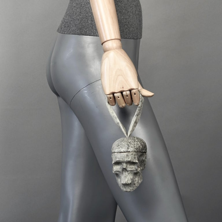 Gray NATALIA BRILLI 2009 Surreal Skull Gothic Wristlet Bag For Sale