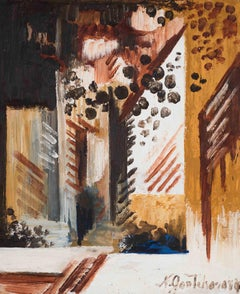 Natalie Goncharova - The village in brown and black: Rayonist composition