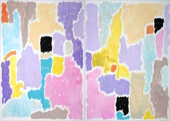 Abstract Blooming Flowers in Pastel Tones, Art Deco Painting Diptych, Paper 2021