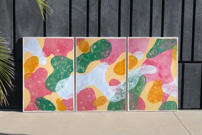 Abstract Botanical Painting, Triptych of Colorful Pastel Flourish Shapes, Paper  - Beige Abstract Painting by Natalia Roman