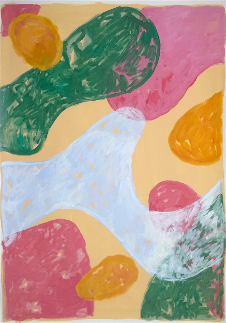 Abstract Botanical Painting, Triptych of Colorful Pastel Flourish Shapes, Paper  For Sale 2