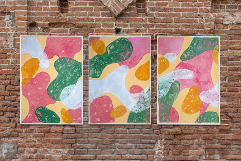 Abstract Botanical Painting, Triptych of Colorful Pastel Flourish Shapes, Paper  For Sale 4