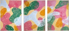 Abstract Botanical Painting, Triptych of Colorful Pastel Flourish Shapes, Paper