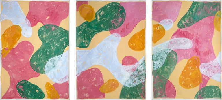 Natalia Roman Abstract Painting - Abstract Botanical Painting, Triptych of Colorful Pastel Flourish Shapes, Paper