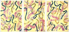Abstract Painting Triptych of Eggshell Yellow Curls, Organic Brushstrokes, 2021