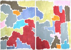 Autumn in Provence, Abstract Diptych Landscape, Warm Tones, Floral Inspiration