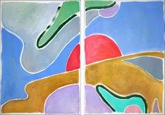 Avocado Field Sky, Vivid Tones Color Field Diptych, Abstract Nature Landscape