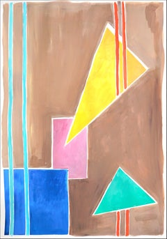 Balanced Geometry I, Primary Pastel Tones, Shapes and Lines on Tan Background