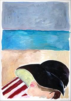 Beach Nap with Rothko, Figurative Acrylic Painting, Portrait Regency Style, 2021
