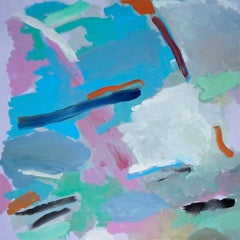 Blurry City Dream, Abstract Pastel Palette Squared Painting on Canvas,  2021