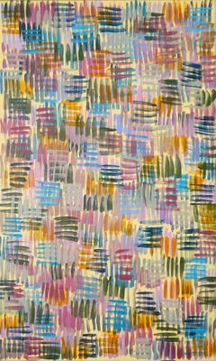 Colorful Line Patterns on yellow, Abstract Painting on Canvas, Pastel Palette