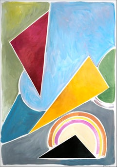 Constructivist Triangles in Pastel Primary Tones, Abstract Geometric Shapes 2021