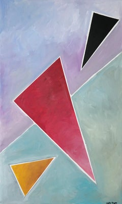 Diagonal Triangle Dream, Abstract Geometric Painting on Linen, Pastel Tones 2021