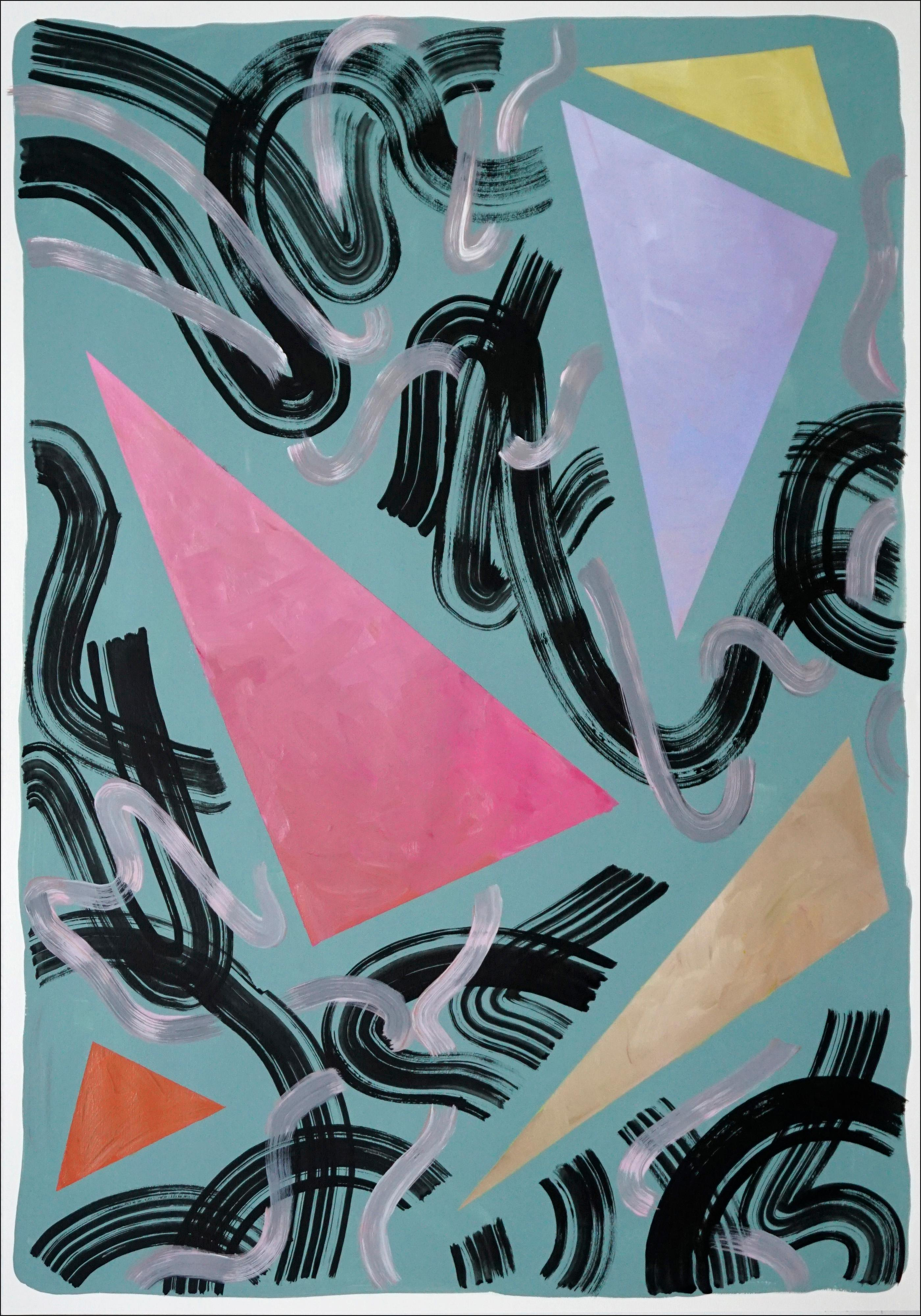 Eighty Primary Shapes on Green, Retro Futuristic Painting on Paper, Triangles