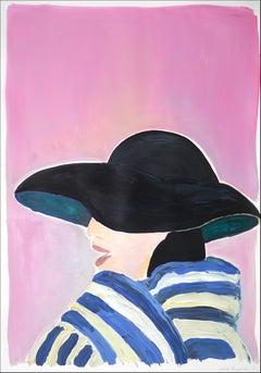 Fifties Fashion Figure on Pink, Regency Female Portrait, Dior Inspiration, 2021