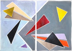 Floating Retro Triangles Painting Diptych in Pastel Tones, Constructivist Style