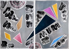 Nineties Triangles and Swirls Diptych, Retro Futuristic Painting, Smooth Palette