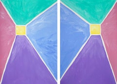 Pastel Tones Pyramid Diptych, Acrylic Painting on Paper, Abstract Geometric