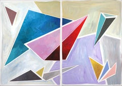 Retro Futuristic Angle Ensemble, Constructivist Painting Diptych in Pastel Tones