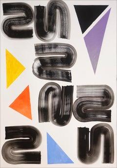 Retro Futuristic Shapes of Primary Grid Swirls on White, Vivid Tones and Black