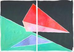 Space Age Triangles, Retro Futuristic Geometry, Color Field in Black, Red, Green