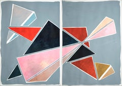 Triangles Breaking Symmetry, Extra Large Diptych, Pastel Futuristic Geometry