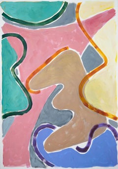 Vivid Colors of layered Curvilinear Forms, Abstract Painting in Warm Tones, Pink
