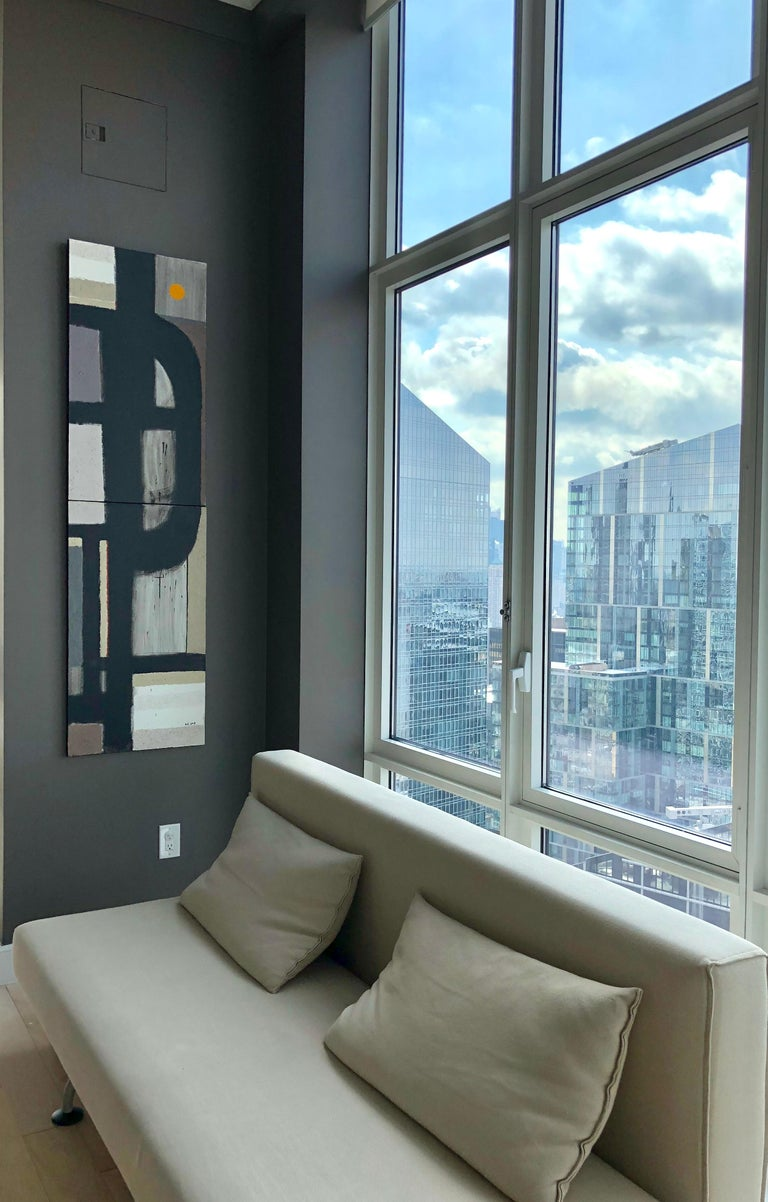 Scenery from the Vertical Series - art in black, violet, grey, beige and yellow For Sale 4