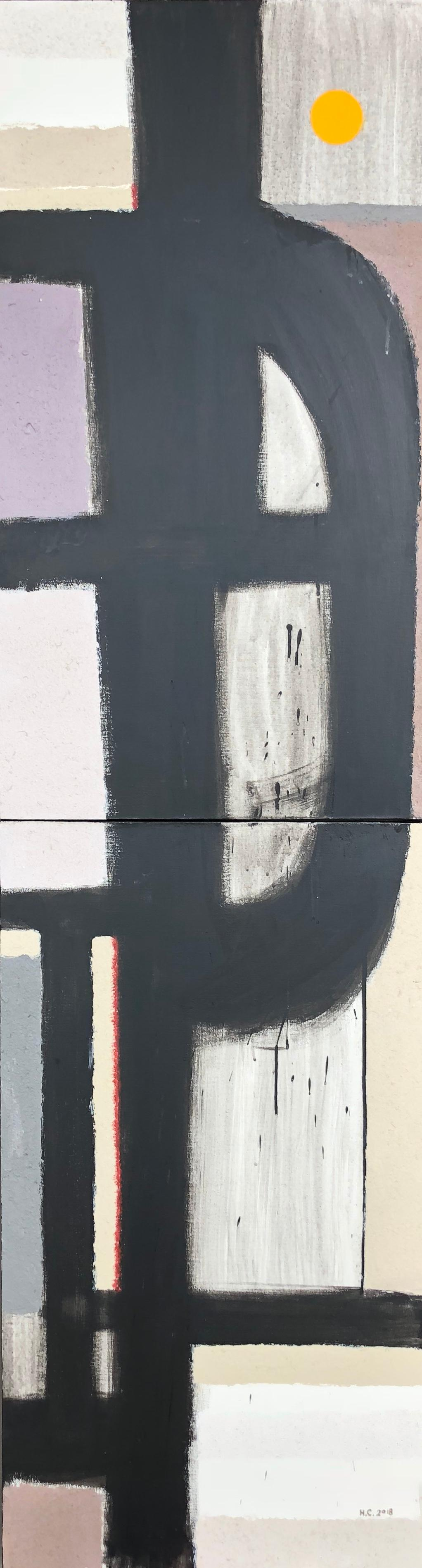 Scenery from the Vertical Series - art in black, violet, grey, beige and yellow