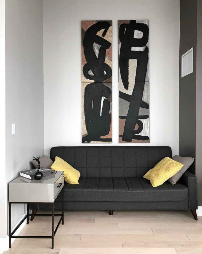 From Vertical Series II & III - art in dark in black, grey, beige, peach puff 10