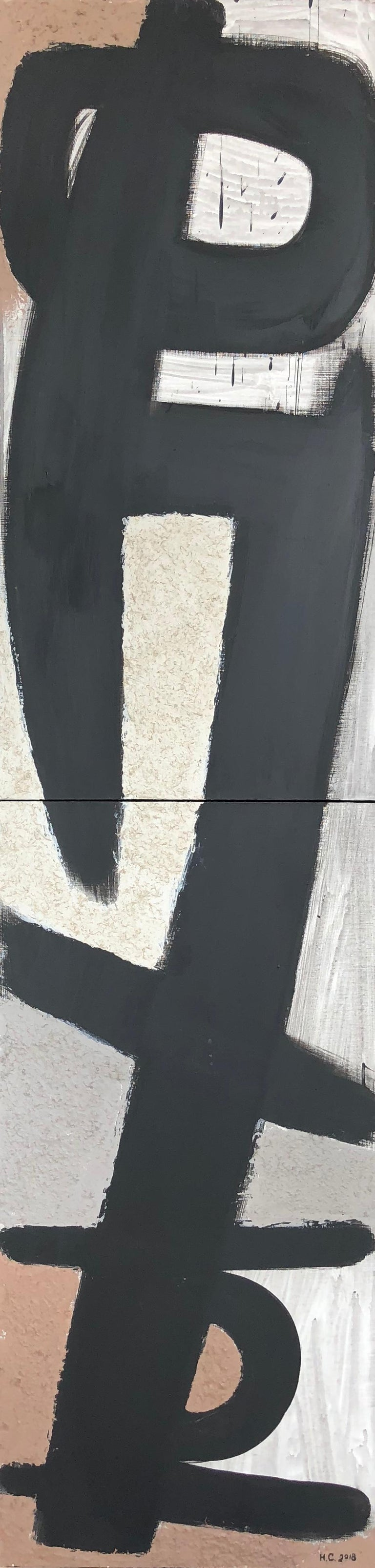 From Vertical Series II & III - art in dark in black, grey, beige, peach puff - Abstract Painting by Natalia Sitnikova