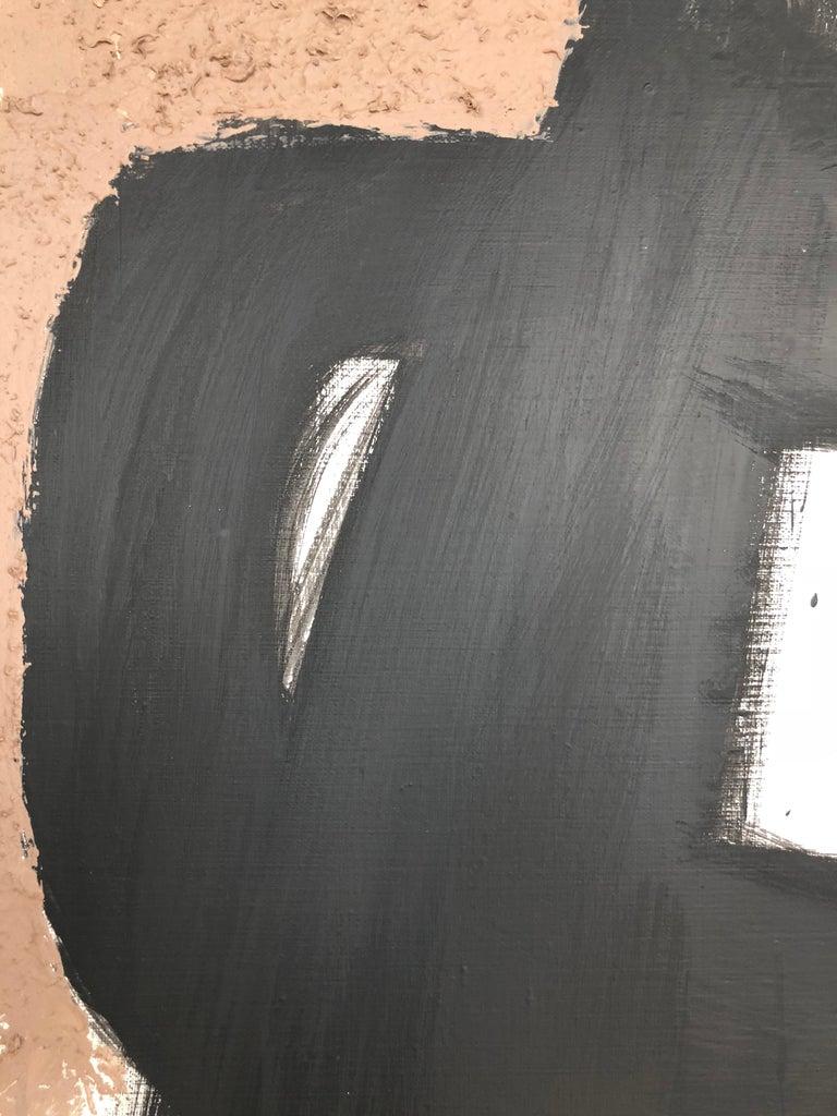 From Vertical Series II & III - art in dark in black, grey, beige, peach puff - Black Abstract Painting by Natalia Sitnikova