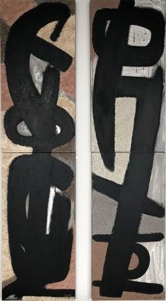 From Vertical Series II & III - art in dark in black, grey, beige, peach puff