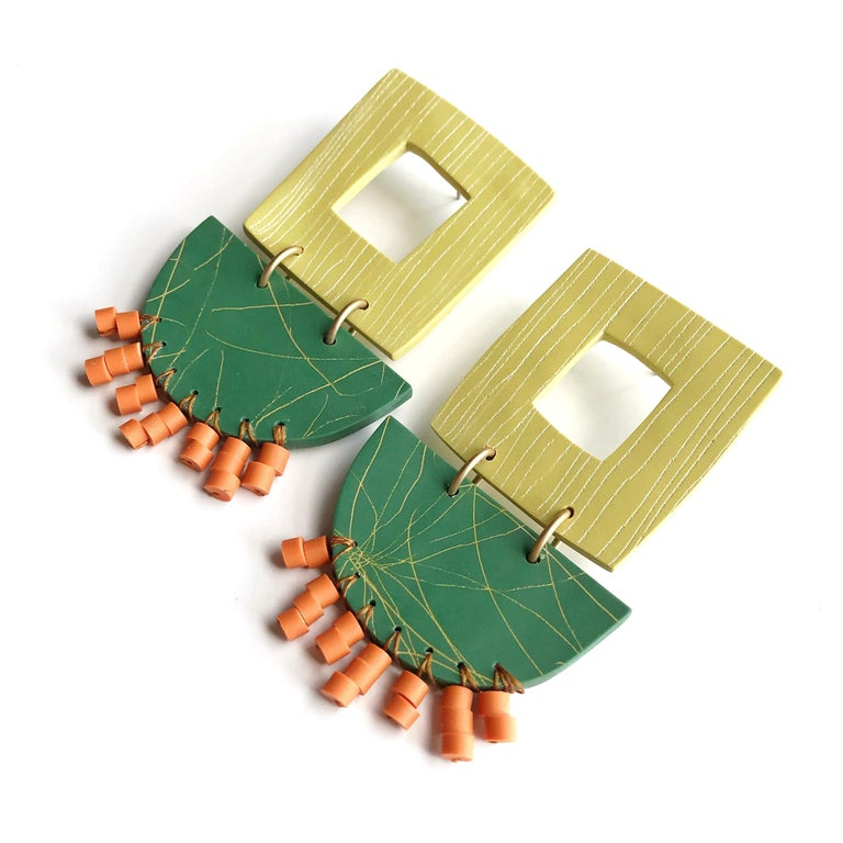 Contemporary Nina Zabal Natalia Statement Earrings in Green, Orange, and Yellow For Sale