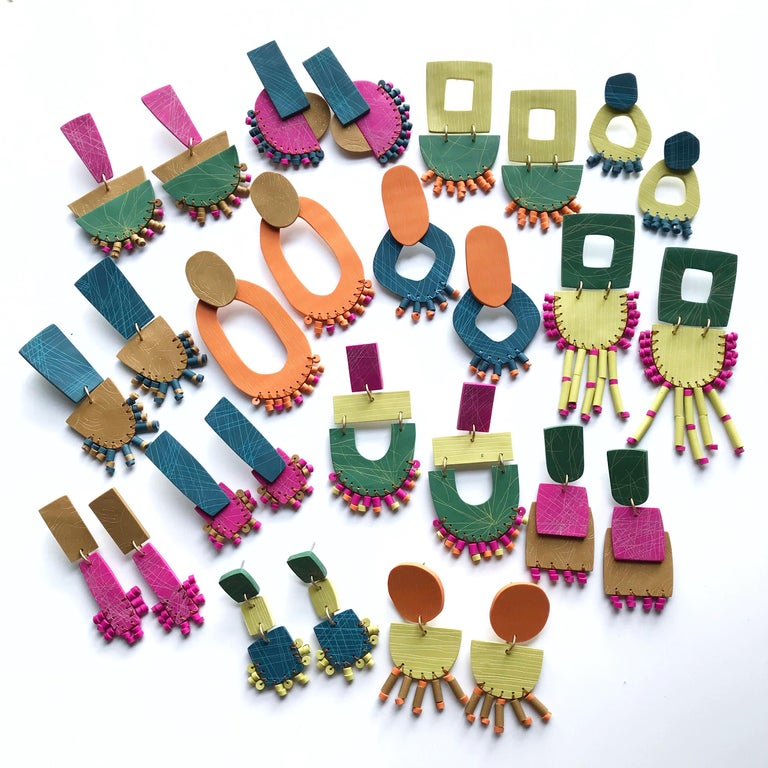 Nina Zabal Natalia Statement Earrings in Green, Orange, and Yellow In New Condition For Sale In Brooklyn, NY