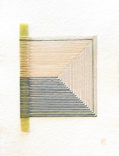 Cracked No. 4 - Textile & Glass Work on Paper (Beige + Blue + Pink)