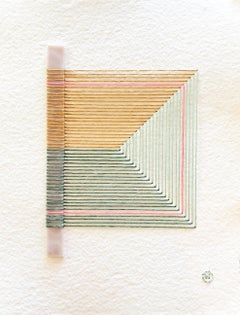 Cracked No. 5 - Textile & Glass Work on Paper (Orange + Green + Pink)