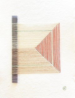 Cracked No. 6 - Textile & Glass Work on Paper (Green + Beige + Red)