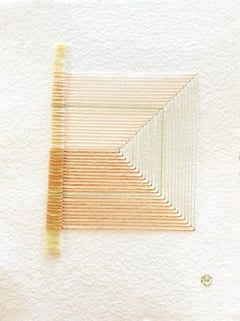 Cracked No. 8 - Textile & Glass Work on Paper (Beige + Orange + Green)