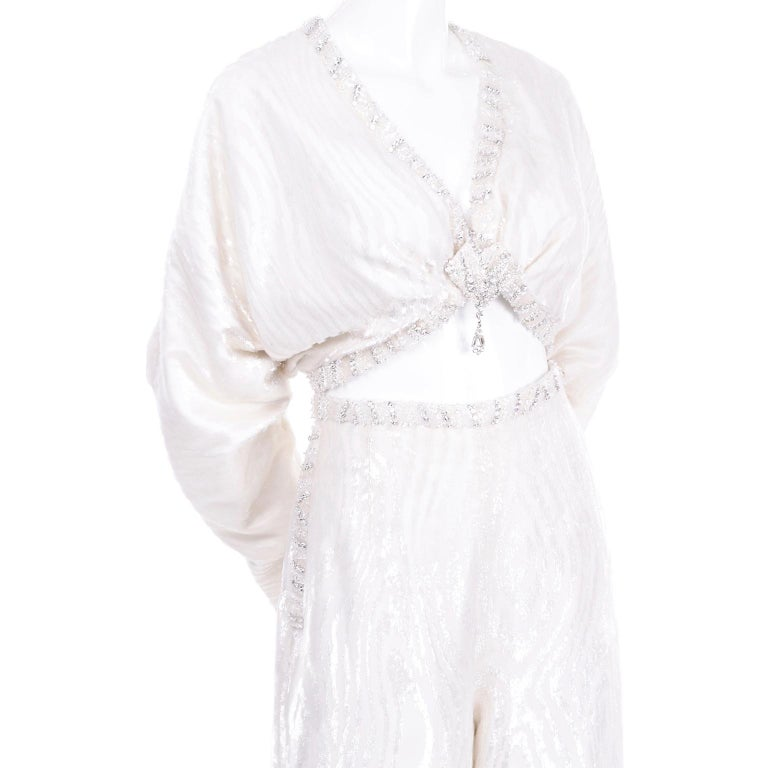 Natalie Cole 1970s White Beaded Evening Outfit W Pants Bustier Shrug & Headband For Sale 5