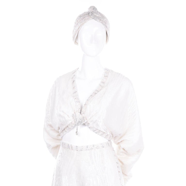 Natalie Cole 1970s White Beaded Evening Outfit W Pants Bustier Shrug & Headband For Sale 6
