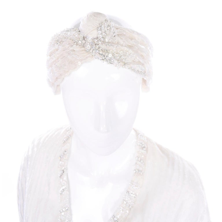 Natalie Cole 1970s White Beaded Evening Outfit W Pants Bustier Shrug & Headband For Sale 9