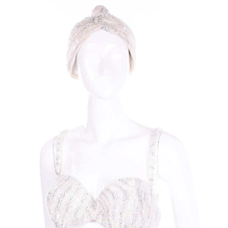 Natalie Cole 1970s White Beaded Evening Outfit W Pants Bustier Shrug & Headband For Sale 10