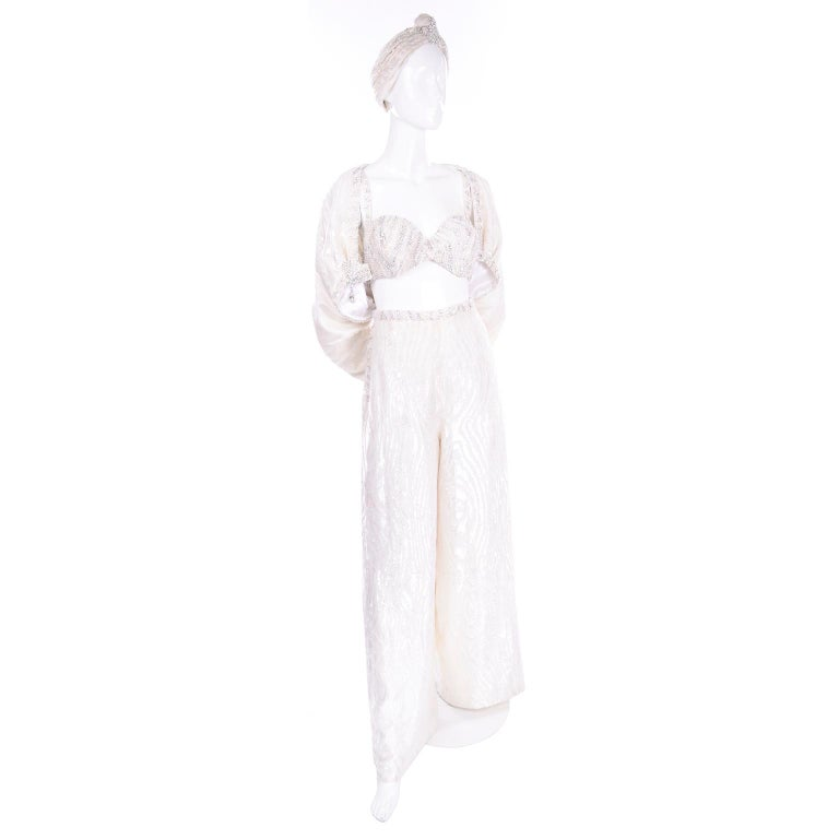 Natalie Cole 1970s White Beaded Evening Outfit W Pants Bustier Shrug & Headband In Excellent Condition For Sale In Portland, OR