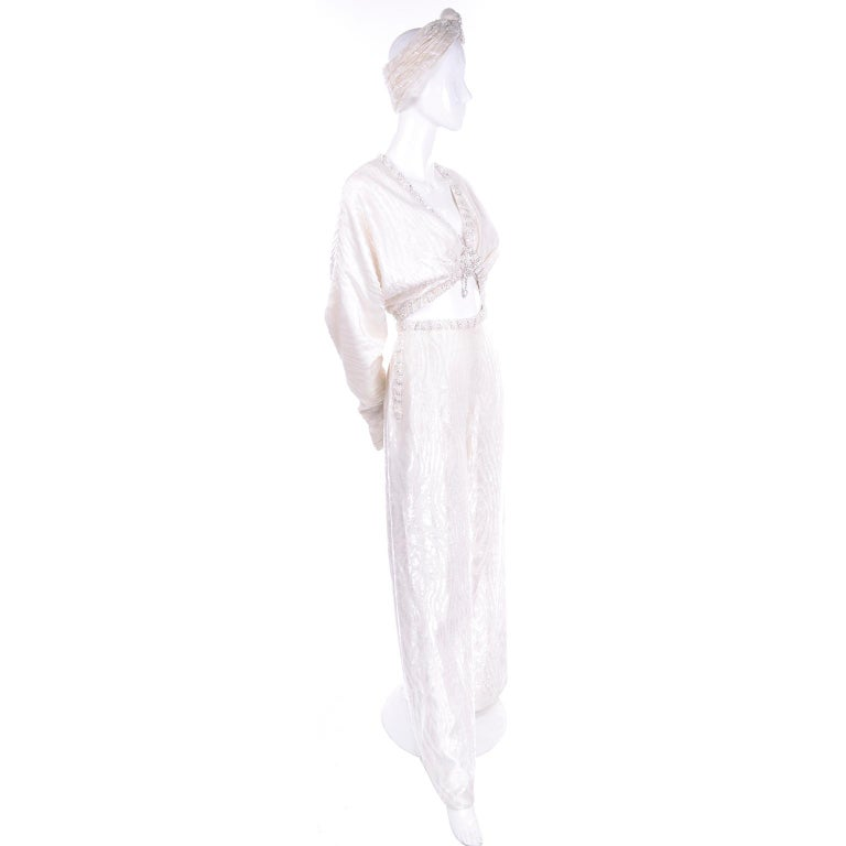 Women's Natalie Cole 1970s White Beaded Evening Outfit W Pants Bustier Shrug & Headband For Sale