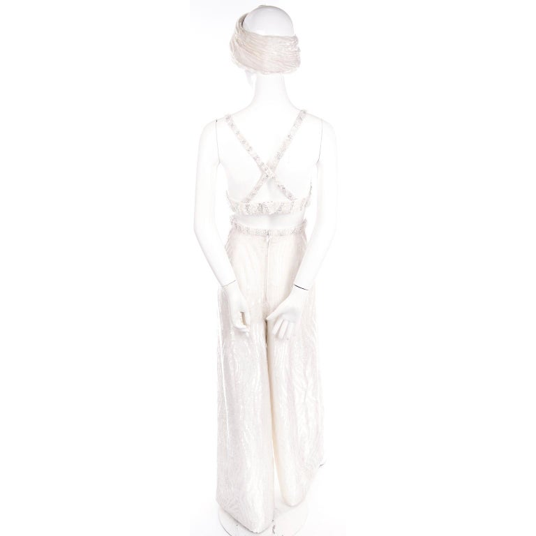 Natalie Cole 1970s White Beaded Evening Outfit W Pants Bustier Shrug & Headband For Sale 1