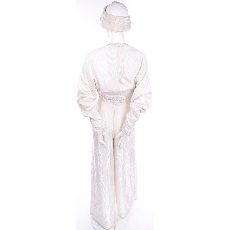 Natalie Cole 1970s White Beaded Evening Outfit W Pants Bustier Shrug & Headband For Sale 2